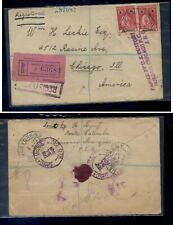 Mozambique  registered cover to  US   red  label  1924