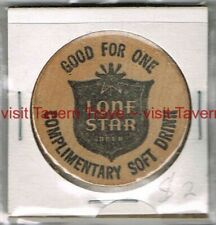 1970s TEXAS LONE STAR BREWERY Wax Museum Soft Drink 1½ inch Wooden Nickel
