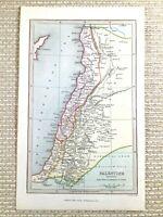 1845 Antik Hand- Farbig Map Of 19th Jahrhundert Palästina Israel Die Holy Land