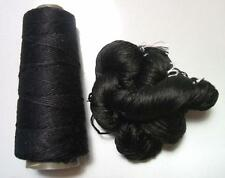 100% Pure Reeled Mulberry Silk Dupion Yarn 50 gram Black Night Lot A