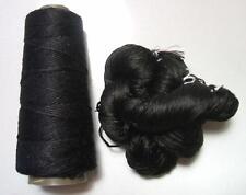 100% Pure Reeled Mulberry Silk Dupion Yarn 50 gram Black Night Lot A
