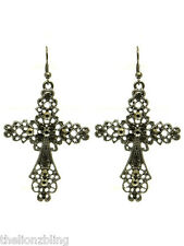 "with Crystal Bling - 2 1/2"" Industrial Gothic Urban Dark Grey Cross Earrings"