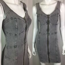 French Connection Jeans Womens 10 Gray Zip Stretchy Corset Bodycon Vintage Dress