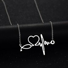 Silver Nurse ECG Stethoscope Necklace-Heart Beat Necklace Doctor Dipped Science