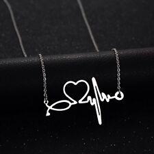 Estetoscopio Enfermera ECG Collar Collar de plata de médico de ritmo cardiaco-Ciencia de cruce