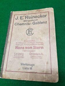 J.E.REINECKER CHEMNITZ - GABLENZ WERKZEUGE LISTE M KATALOG um 1930