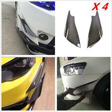 4Pcs Carbon Fiber Front Bumper Splitter Fins Body Spoiler Canards Valance Chins