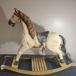 "Antique Rocking Horse Swedish Primitive - 1800's Wooden Horse Original 32"" Wide"