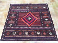 5.1 x 5.0 Hand-Woven Afghan Tribal Sumak Geometric Design 100% Wool Rug SZM-5150
