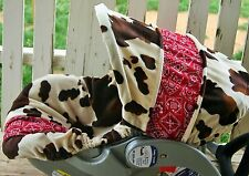 brown cow/horse print w/red bandana cotton infant car seat cover and hood cover