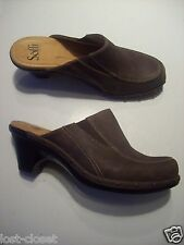 Sofft Brown Leather Mules Slides Clogs Pumps Studs Heels Shoes Size 7 @ cLOSeT