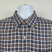 Peter Millar Brown Blue Gray Check Plaid Mens Dress Button Shirt Size Large L