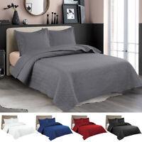 Embossed Reversible Bedspread Coverlet Quilt Set Bedding Cover Twin Queen King