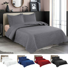 Embossed Reversible Bedspread Coverlet Quilt Set Bedding Cover Twin Queen King