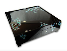 Japanese Style Wooden Tea Table Mother of Pearl Inlaid Lacquer Finish Pine Tree