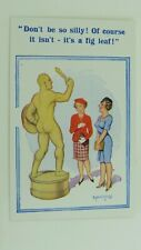 1950s Donald McGill Risque Comic Postcard Male Statue Gladiator Sculpture