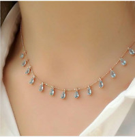 AAA QUALITY STERLING 925 SILVER HANDMADE JEWELRY BRAZIL AQUAMARINE DROP NECKLACE