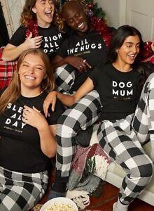 Black 'Snuggle Season' Hugs Family Matching Christmas Pyjamas Mum Dad Kids Dog