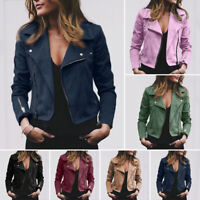 Women's Punk Casual Jacket Coats Zip Up Biker Flight-Tops Coat Outwear Outerwear