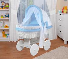 WALDIN Baby Bollerwagen,Stubenwagen,komplett mit Zubehör,Stoffe Weiß/Blau