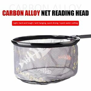 Fishing Folding Net Alloy Brail Head Round Small Mesh Fishing Hand Landing Net`