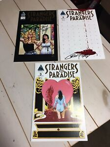 Strangers in Paradise Comics #1, 2, 3 - 1 & 2 Signed Autographed