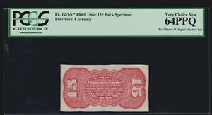 US 15c Fractional Currency Note Narrow Margin Red Back FR 1276sp PCGS 64 PPQ