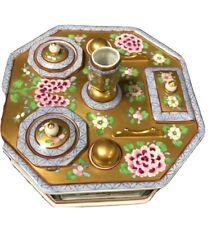 Dresden Gold White Desk Set Inkwell Pen Holder Hexagonal Fabulous 18cm  AllSides