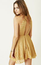 45fb54ee NWT For Love & Lemons Dulce Embroidered Halter Mini Dress Gold Silk Large  Rare