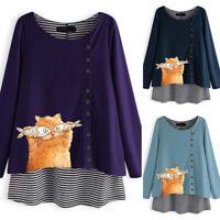 ZANZEA Womens Long Sleeve Blouse Tee Shirt Cartoon Printed Tops Blouse Plus Size