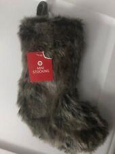 "NEW Faux Fur Mini Christmas Stocking 10""-NWT"