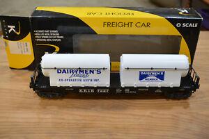 K-Line Trains K691-1512 Erie Flat Car with Dairymen's League Milk Tanks NIB
