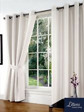"""66"""" x 54"""" White Faux Silk Pair Curtains Eyelet, Ring Top, Lined Inc Tiebacks"""
