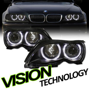 Blk Clear Halo Projector Headlight Headlamp Ks For 02-05 BMW E46 3-Series 4D 4Dr
