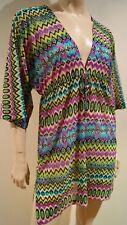 LULI FARMA Multi Colour Geometric V Neck Tie Waist Cover Up Kaftan Beach Dress M