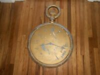 Antique 2-Sided JEWELER POCKET WATCH CLOCK ZINC TRADE SIGN OLD COMSTOCK TX - HTF