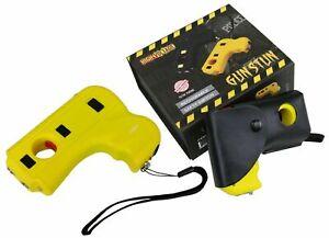 DEFENDER 10 Mil Volt Rechargeable Pistol Grip STUN GUN w/ Light & Holster Yellow