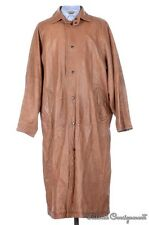 PAUL STUART Solid Brown FULL LEATHTER TRENCH Overcoat - MEDIUM