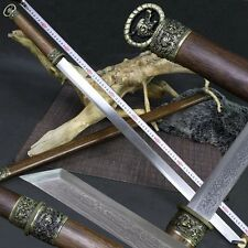 High Quality Chinese Handmade Ring-pommel Dao Pattern Steel Sword Sharp Blade