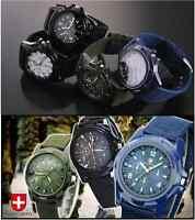 Gemius Army Luminous Dial Stainless Steel Military Quartz Watch Webbing Strap