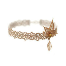 Beautiful Golden Rhinestones Nude Cluster Lacy Leaf Purls Necklace