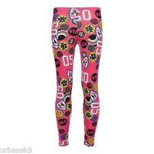 GIRLS Pink Badge Print Leggings Age 7 to 8