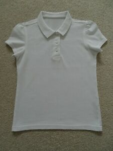 Girls White Scallop School Polo Shirt from George at Asda Age 7-8 Years