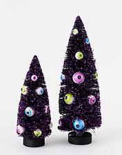 Halloween Spooky Black Bottle Brush Sisal Tree with Eyeball Ornaments Set of 2