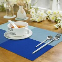 "Placemats PVC Woven Washable Heat-Resistant Table Mats 4pcs 17.7""x11.8"" Blue"