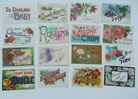 LOT OF 16  GREETINGS ANTIQUE  POSTCARDS  LARGE LETTER