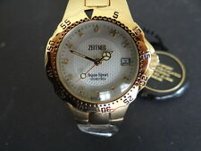 NOS WOMEN'S ZEITNER AQUA SPORT GOLD PLATED WITH DIAMONDS ON DIAL QUARTZ WATCH