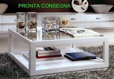 TAVOLINO DA SALOTTO LEGNO MASSELLO LACCATO BIANCO C/VETRO PRONTA CONSEGNA 5401