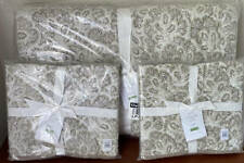 Pottery Barn Clio Full / Queen Quilt / Coverlet & 2 Standard Shams ~ Flax
