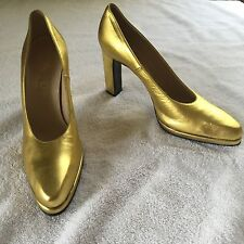 Vintage 60s 70s YVES  SAINT LAURENT Heels 7 AA Metallic Gold Pumps Stiletto YSL